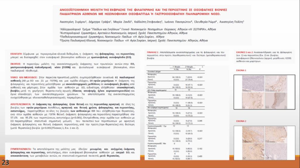 Ανοσοϊστοχημική μελέτη της έκφρασης της Φιλαγκρινής και της Περιοστίνης σε οισοφαγικές βιοψίες παιδιατρικών ασθενών με Ηωσινοφιλική Οισοφαγίτιδα ή Γαστροοισοφαγική Παλινδρομική Νόσο